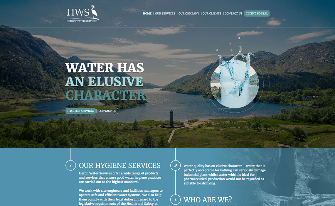 heron water website screenshot
