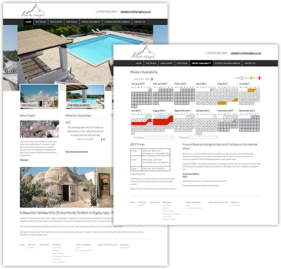 holiday home website design