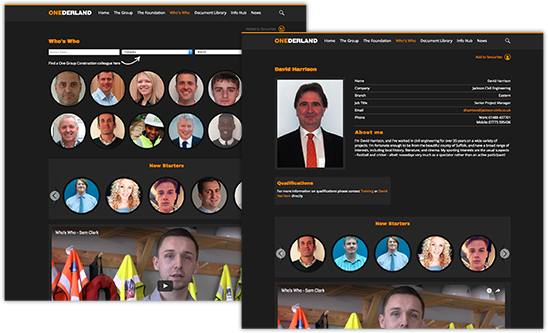 intranet team page