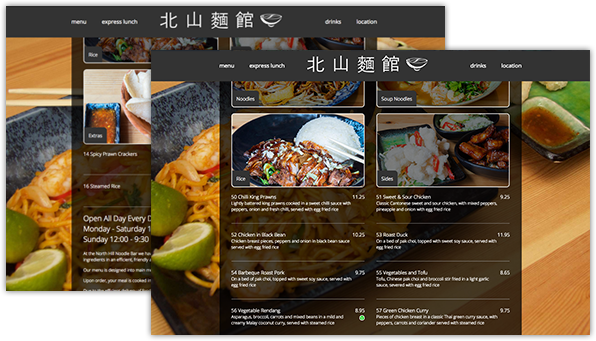 restaurant menu web design