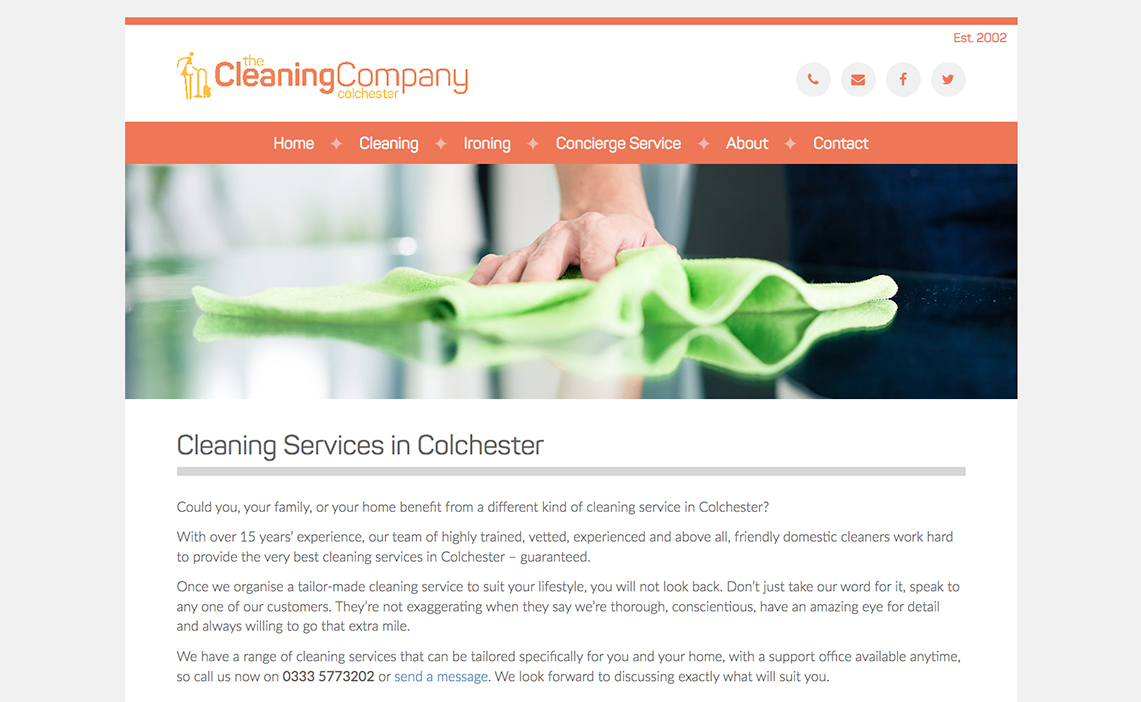 cleaning company colchester web design