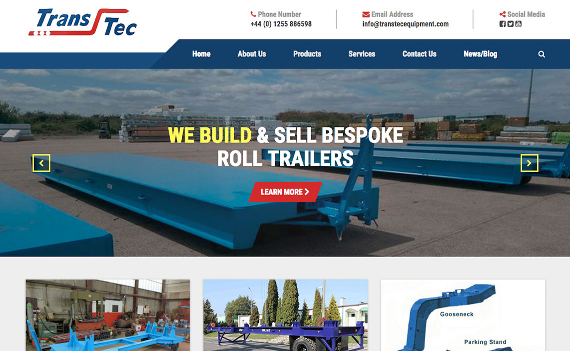 transtec website homepage design