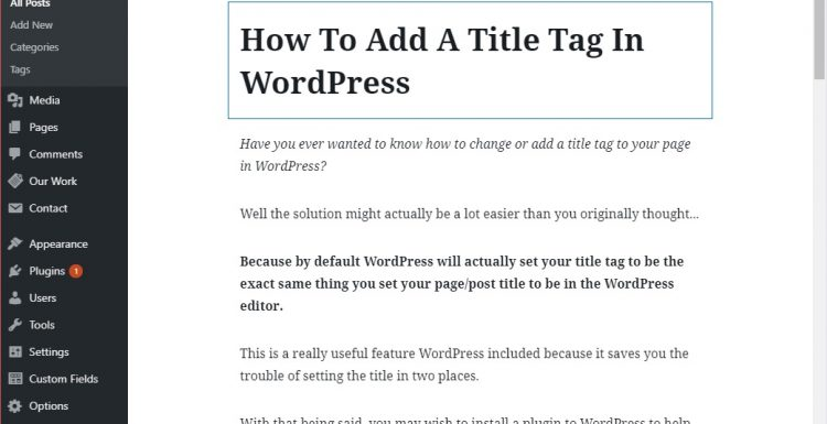 How To Add A Title Tag In WordPress