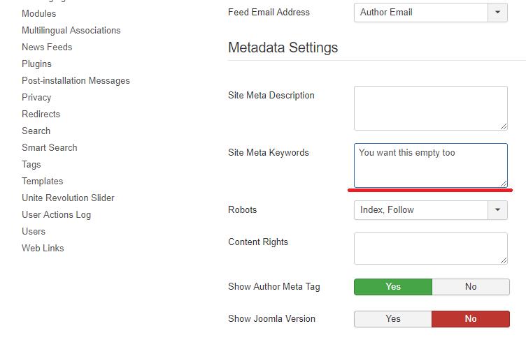 Joomla Remove Site Keywords