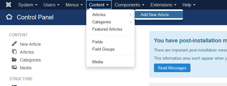 How to add new article in joomla